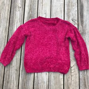 Red cropped chenille sweater